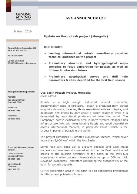 9 March 2010 - Update on Uvs potash project ... - General Mining
