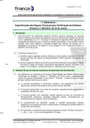 Especificação das Regras Técnicas para Certificação de Software ...