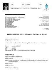 VERBANDSTAG 2007 - Bayerischer Fechtverband e.V.