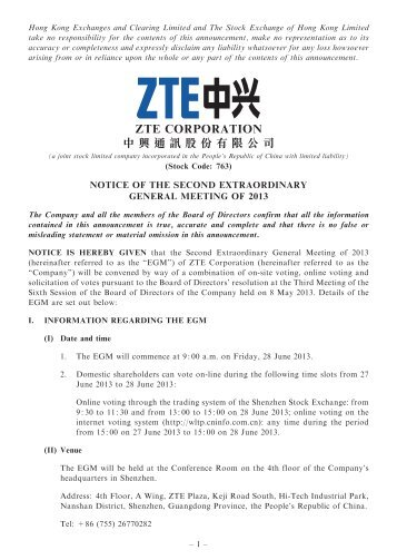 notice of the second extraordinary general meeting of 2013 - ZTE