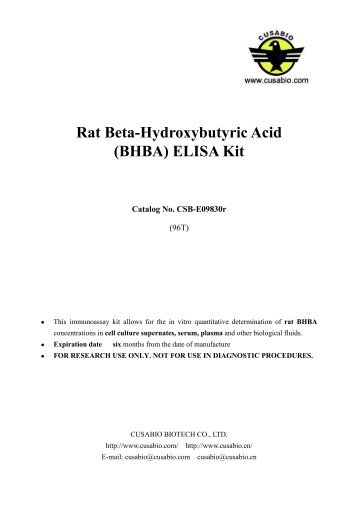 Rat Beta-Hydroxybutyric Acid (BHBA) ELISA Kit