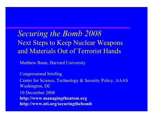 Securing the Bomb 2008 - Belfer Center for Science and ...