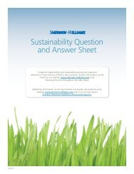 Sherwin-Williams Sustainability Question and Answer Sheet