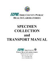 Specimen Collection and Transport Manual - Erie County