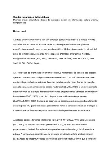 Cidades sencientes e cultura urbana - Senac São Paulo