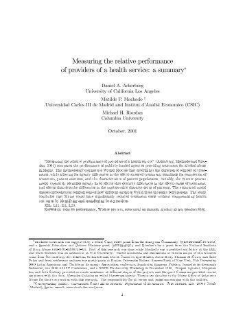 Measuring the relative performance of providers - Departamento de ...