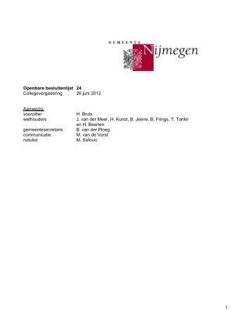 C20120626 Collegebesluitenlijst Gepubliceerd op 27/06/2012