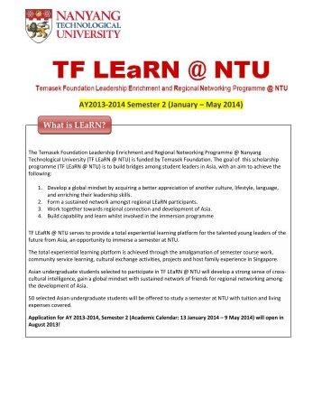 TF LEaRN @ NTU Info Sheet (AY2013-2014) - International Relations
