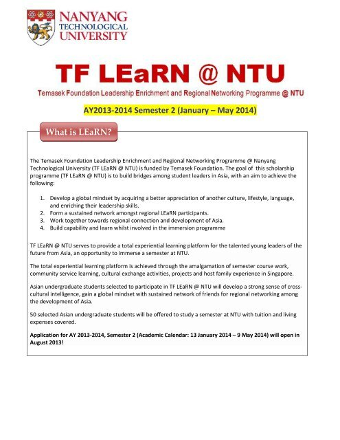 TF LEaRN @ NTU Info Sheet (AY2013-2014) - International