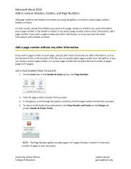 Add or remove Headers, Footers, and Page Numbers - College of ...