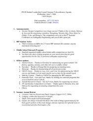 PEER Student Leadership Council Summer Teleconference Agenda ...