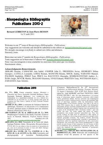 © Biospeologica Bibliographia - Publications 2010-2