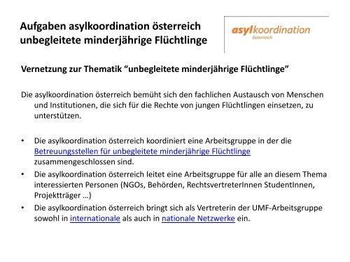 """Vernetzung zur Thematik """"unbegleitete minderjährige Flüchtlinge"""""""