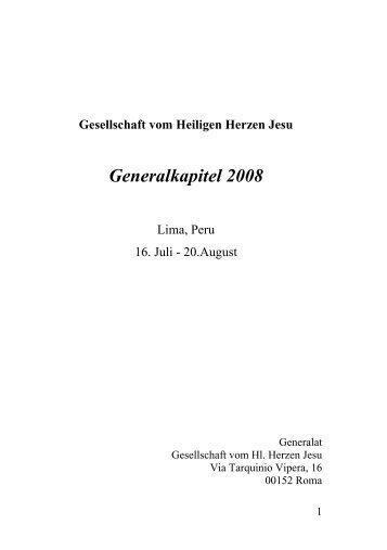 aus dem Generalkapitel 2008