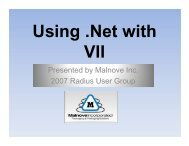 Using .Net with VisionII - John Samuelson, Malnove Inc. - Radius