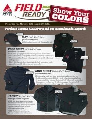 Purchase Genuine AGCO Parts and get custom branded apparel!
