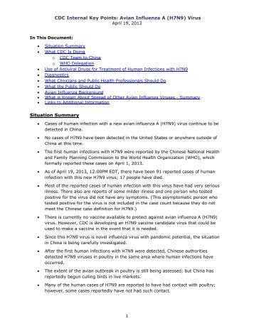CDC Internal Key Points: Avian Influenza A (H7N9) - Immunization ...