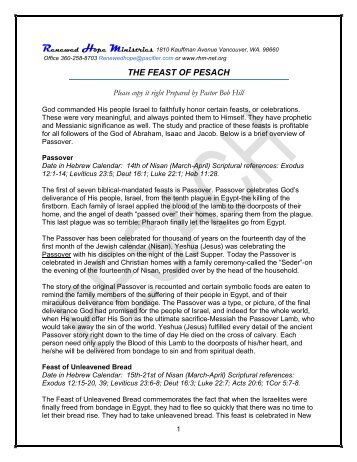 The Feast of Pesach / Passover - Rhm-Net.org