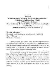 Discours de Joseph Michel Martelly, Président de la République d ...