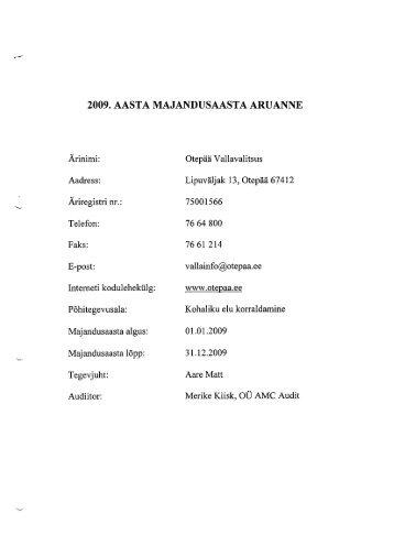 2009. AASTA MAJANDUSAASTA ARUANNE - Otepää vald