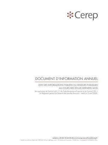 Liste des informations publiées ou rendues publiques de ... - Cerep