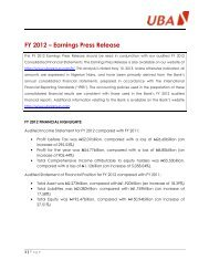 2012 Full Year Results Press Release - UBA Plc