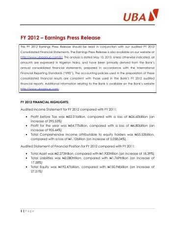 2012 Full Year Results Press Release - UBA Plc