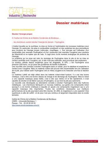 Dossier matériaux - Cap Sciences