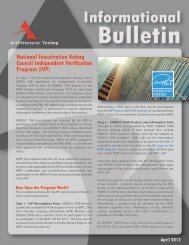 National Fenestration Rating Council Independent Verification ...