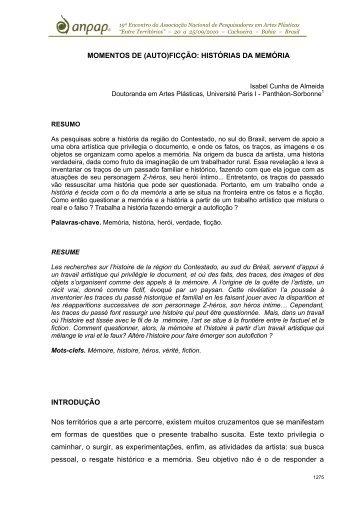 MOMENTOS DE (AUTO)FICÇÃO: HISTÓRIAS DA MEMÓRIA - Anpap