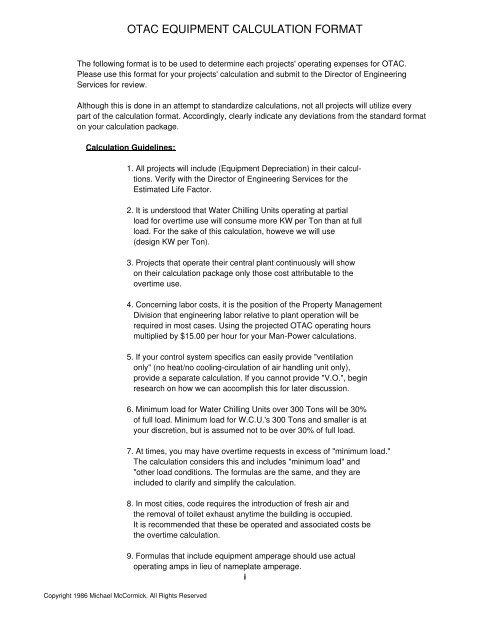 OverTime HVAC Calculation Analysis Program - McCormick PCS Info