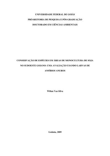 Wilian Vaz-Silva, Conservação de Espécies em áreas de ...