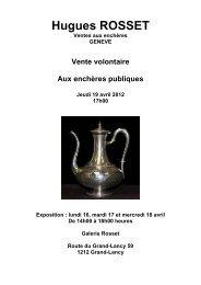 Conditions de vente - Galerie Rosset