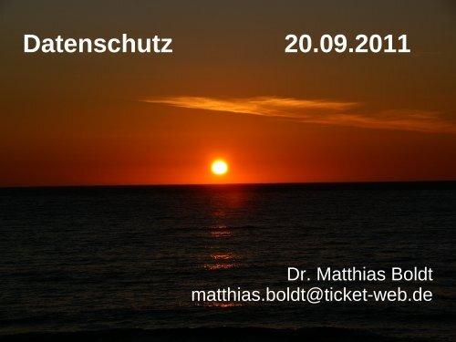 Datenschutz 20.09.2011 - Telematik TH Wildau