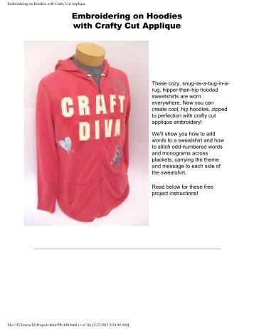Embroidering on Hoodies with Crafty Cut Applique - Embroidery ...