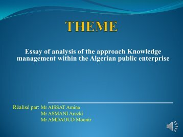 Essay of analysis of the approach Knowledge management ... - ISKO
