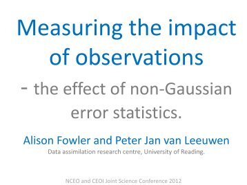 - the effect of non-Gaussian error statistics. - NCEO - National Centre ...