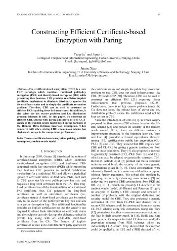 Constructing Efficient Certificate-based Encryption with Paring