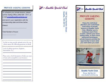 Private Sailing Lessons Brochure - Seattle Yacht Club