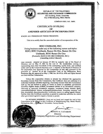 BDO Amended Articles of Incorporation SEC Approval