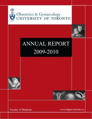 ANNUAL REPORT 2009-2010 - ObGyn - University of Toronto ...