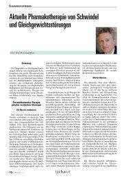Aktuelle Pharmakotherapie von Schwindel und ...