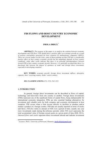 Drigă, I. FDI Flows and Host Country Economic Development