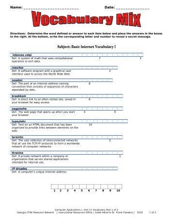 Subject: Basic Internet Vocabulary I - Georgia CTAE