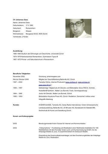 CV Johannes Gees Name: Johannes Gees Geburtsdatum: 17.2 ...