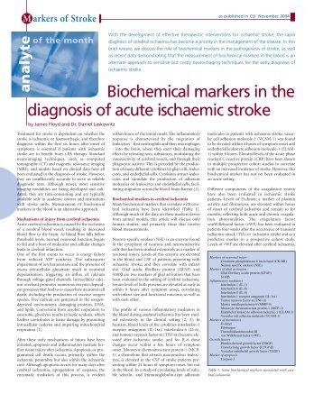 Biochemical markers in the diagnosis of acute ischaemic stroke