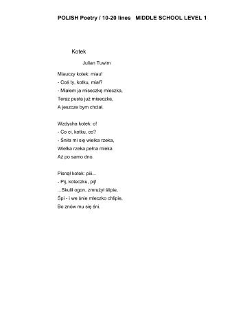POLISH Poetry / 10-20 lines MIDDLE SCHOOL LEVEL 1 Kotek