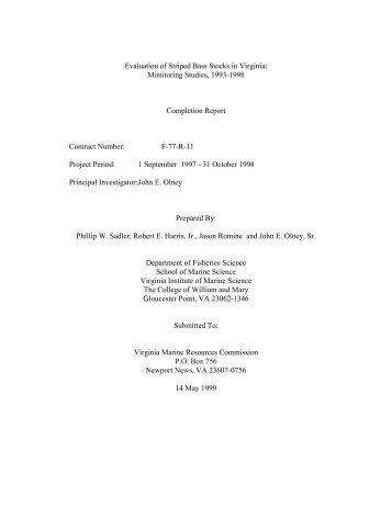 Evaluation of Striped Bass Stocks in Virginia - Virginia Institute of ...
