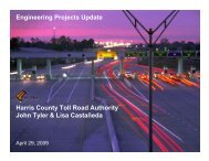 Existing Infrastructure Update - Harris County Toll Road Authority