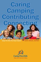 Camp Fire USA First Texas Council 2009 ANNUAL REPORT